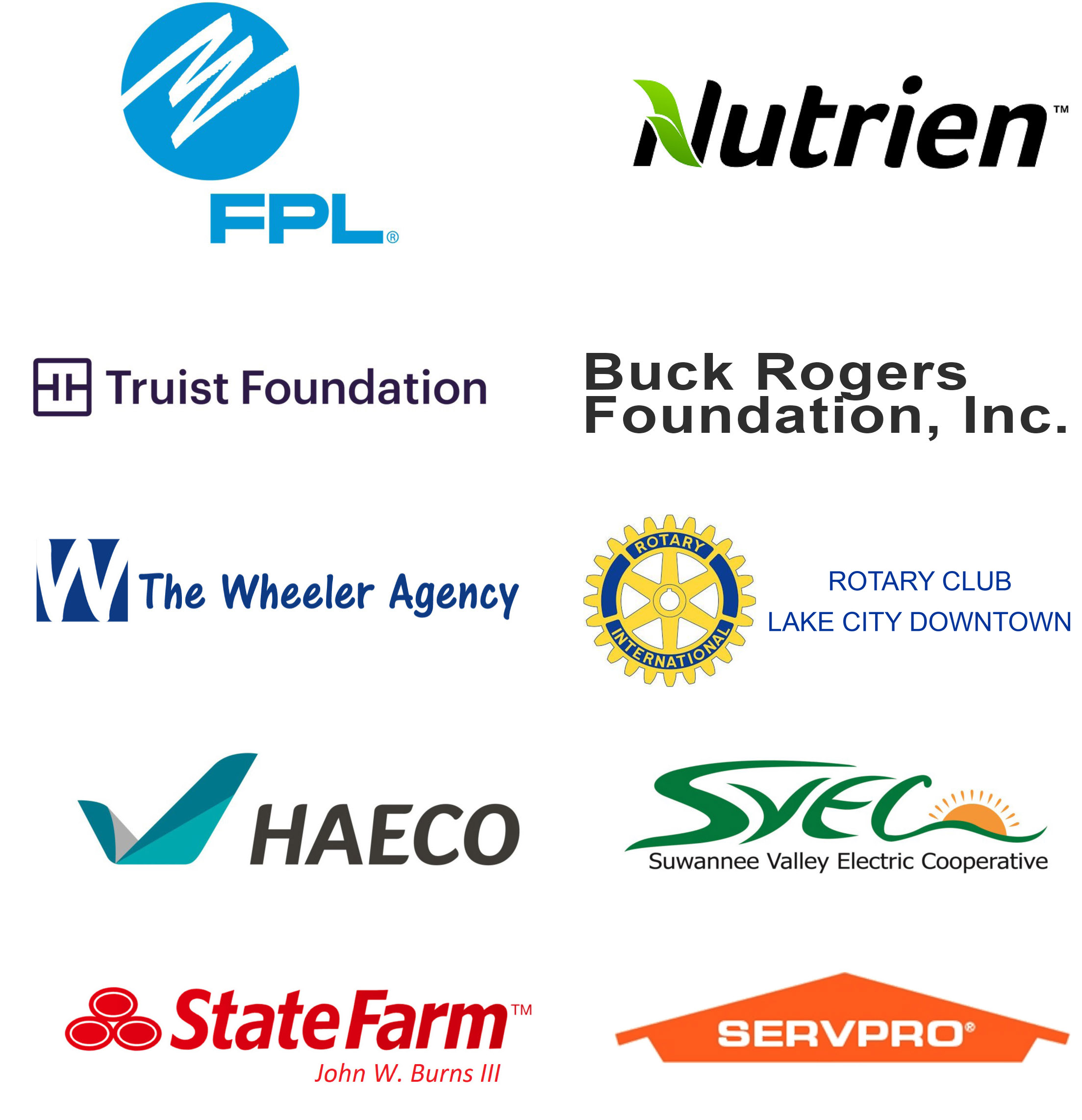 Corporate sponsors FPL, Nutrien, Truist Foundation, Buck Rogers Coundation, The Wheeler Agency, Haeco, SVEC, State Farm, Servpro